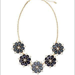 H&M Blue Floral Jewel Statement Necklace